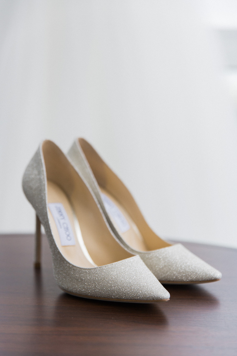 Silver Glitter Pointed Toe Jimmy Choo Wedding Shoes