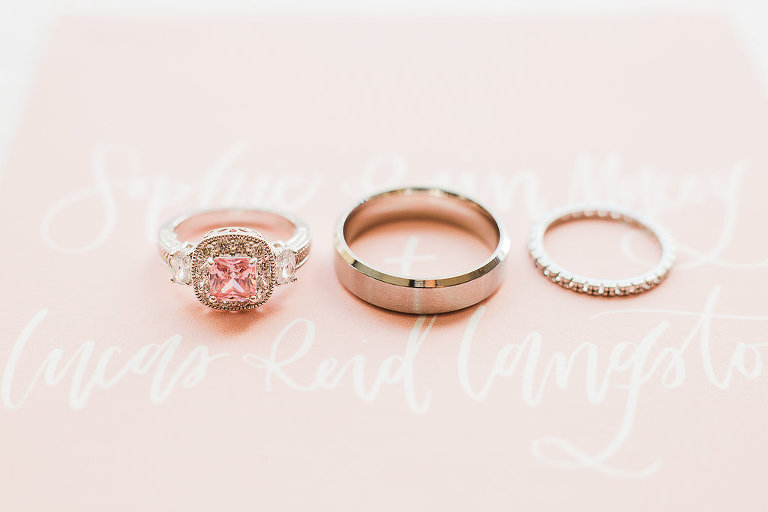Rose Gold Pink Gem Engagement Ring and Diamond Wedding Band