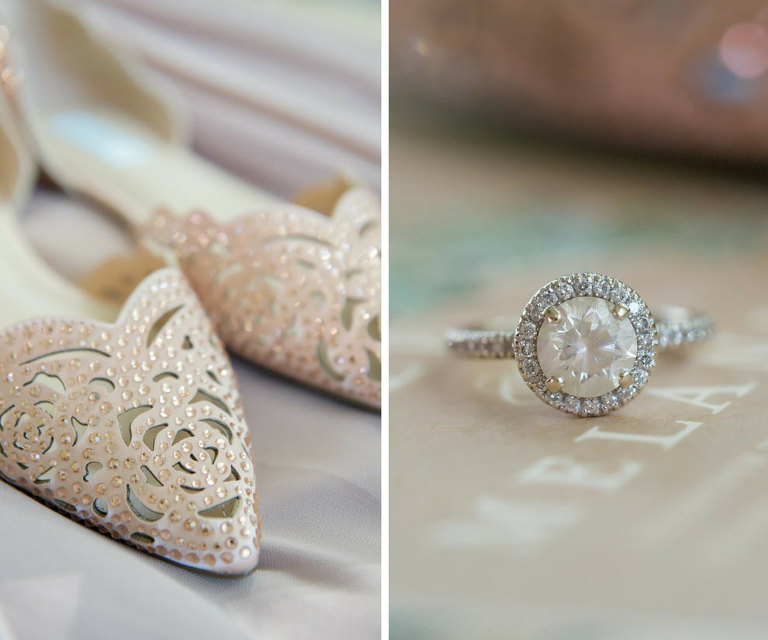 Rose Cutout Leather Sequin Pointed Toe Wedding Shoes and Round Diamond Band Engagement Ring