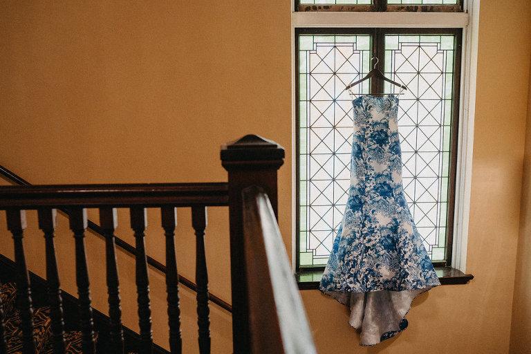 Custom Blue and White Floral Strapless Mermaid Wedding Dress on Hanger