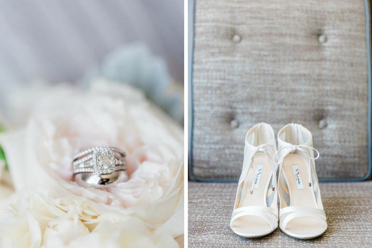 Square Diamond Engagement Ring and White Gold Wedding Band and Open Toe White Nina Wedding Shoes
