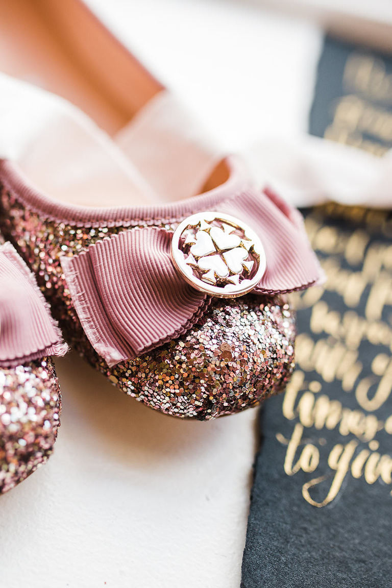 Pink Glitter Ballet Flat Kate Spade Wedding Shoe with Ribbon Bow