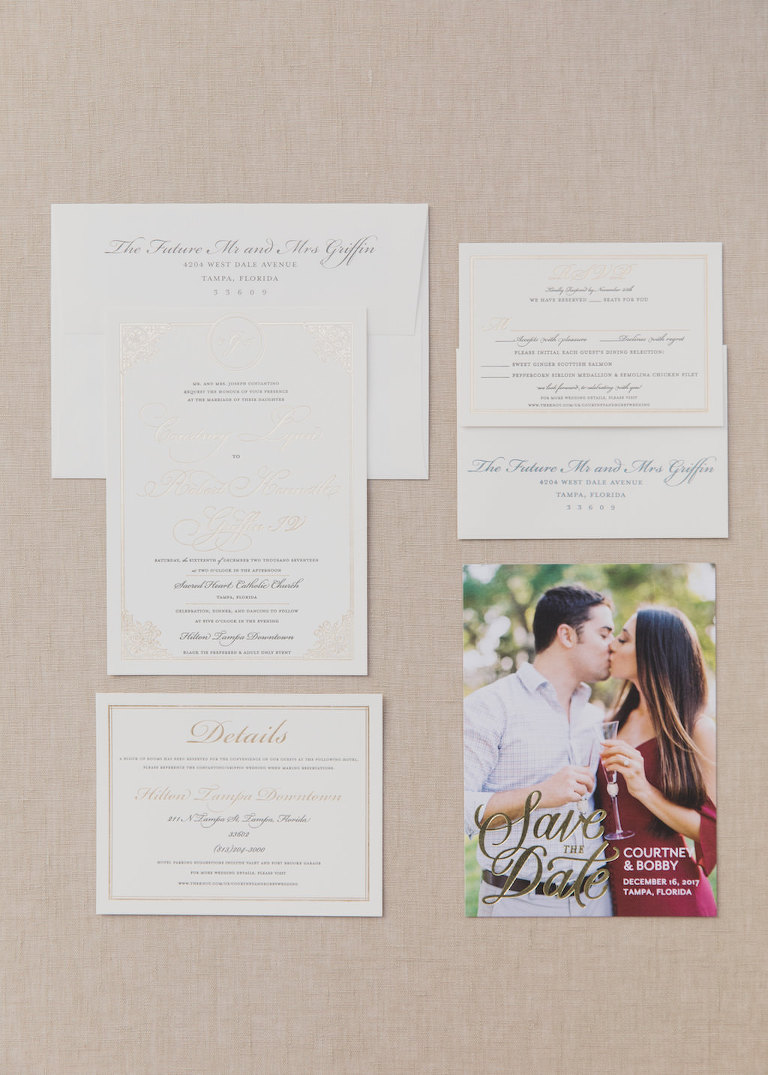 Elegant Gold and Silver Printed Wedding Invitation Suite