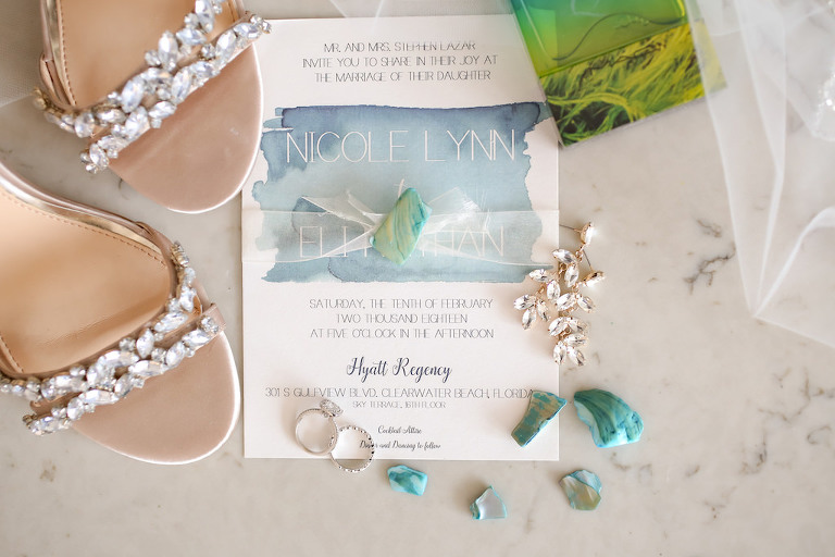 Modern Beach Wedding Jeweled Open Toe Bridal Sandals Wedding Shoes, Diamond Wedding Band and Engagement Ring, Leaf Pattern Chrystal Earrings, and Watercolor Blue and White WEdding Invitation