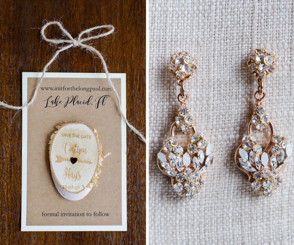 Rose Gold and Rhinestone Bridal Earrings and Rustic Craft Paper, White and Gold Save The Date Card