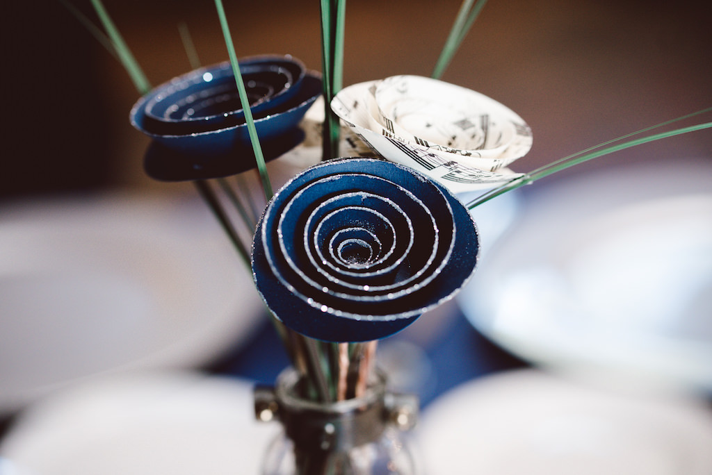 Simple Silver And Blue Paper And Sheet Music Paper Flowers Wedding