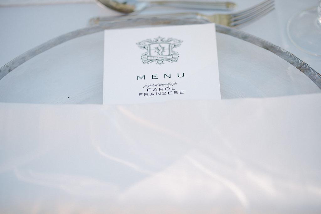 Elegant Muted Silver and Blush Wedding Reception Place Setting with White Menu with Elegant Dark Blue Printed Script and Custom Monogram | Sarasota Wedding Stationery and Paper Goods URBANcoast