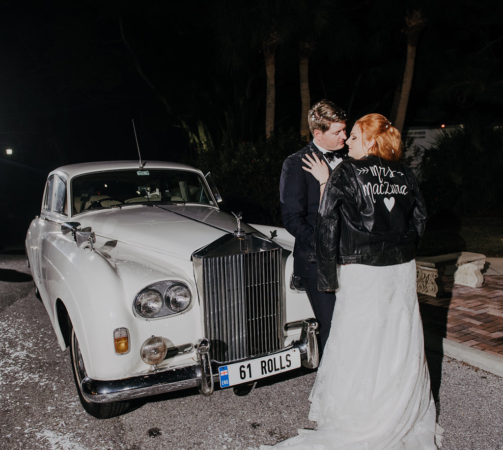 Outdoor Nighttime Wedding Exit Portrait, Bride in Custom Mrs Leather Jacket, with Vintage Rolls Royce Antique Car