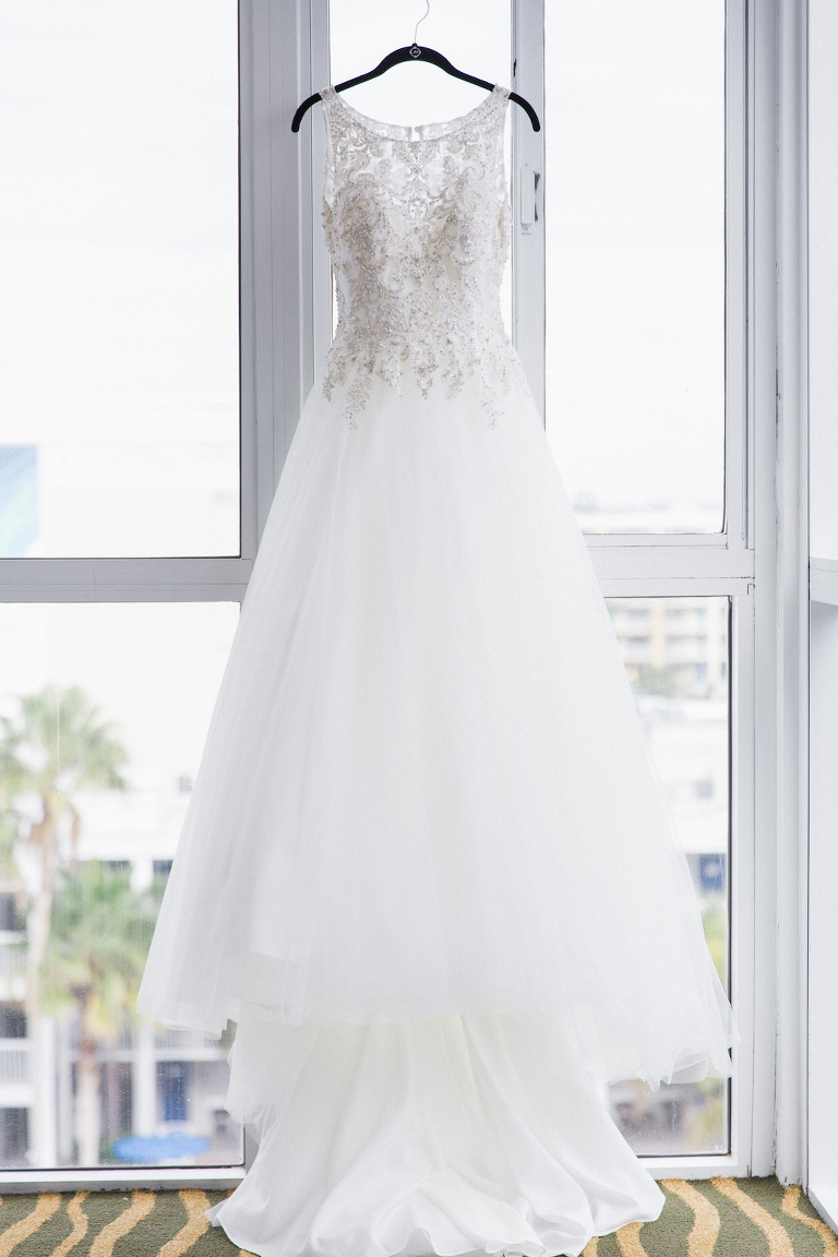 Illusion Lace Princess Ballgown Wedding Dress on Hanger