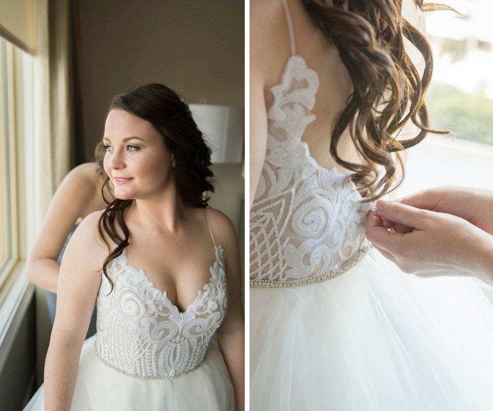 Bride Getting Ready Portrait in Spaghetti Strap V Neck Lace Bodice Ballgown Hayley Paige Wedding Dress | Tampa Bay Wedding Photographer Kristen Marie Photography