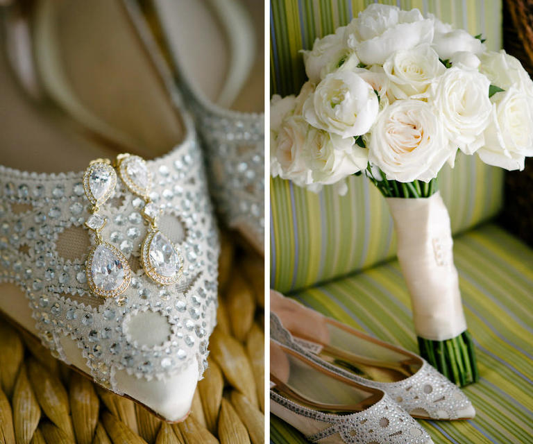 Rhinestone Drop Gold Wedding Earrings and Rhinestone Cutout Pointed Toe Flat Wedding Shoes with White Rose Bouquet wrapped in Ribbon