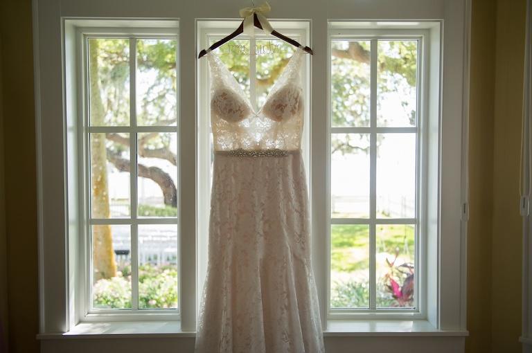 Illusion Lace Bodice Rhinestone Belted Blush Paloma Blanca Wedding Dress on Custom Hanger with White Ribbon