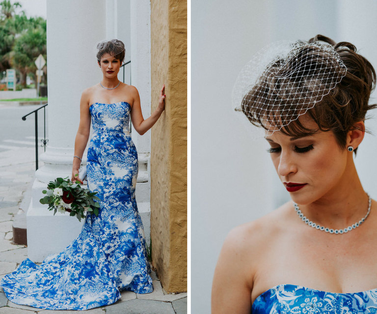 Outdoor Bridal Portrait in Custom Blue and White Floral Strapless Mermaid Wedding Dress with Birdcage Veil and Burgundy and White Floral with Greenery Bouquet | Tampa Bay Wedding Photographer Grind and Press Photography | St Pete Hair and Makeup Michele Renee The Studio | Florist Apple Blossoms Floral Designs