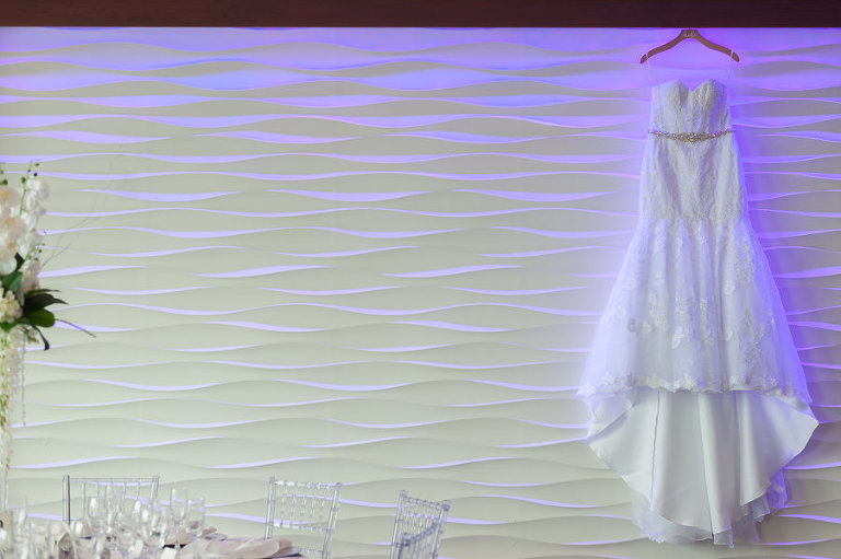 Strapless Belted Mermaid David's Bridal Wedding Dress on Hanger | Hotel Reception Venue The Westin Tampa Bay