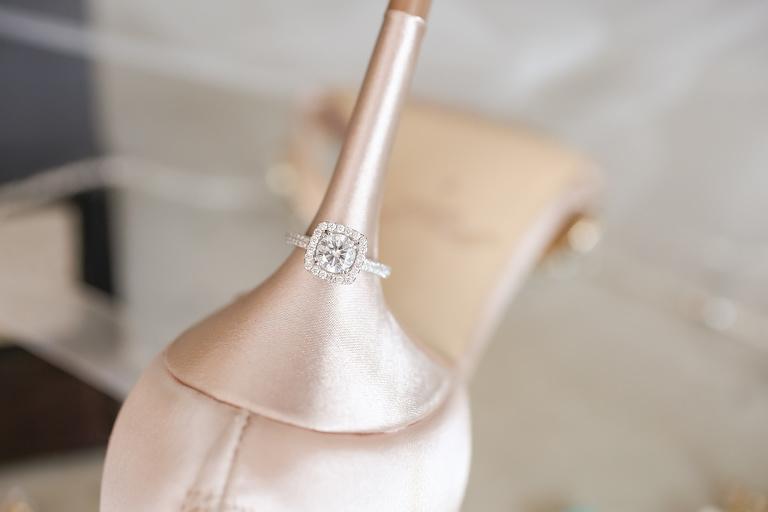 Square Engagement Ring with Diamond Band on Blush Wedding Shoe Stiletto