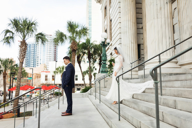Outdoor Downtown Tampa First Look Portrait, Bride in Long Sleeve Illusion Lace Dress | Tampa Bay Hotel Wedding Venue and Accommodations Le Meridien