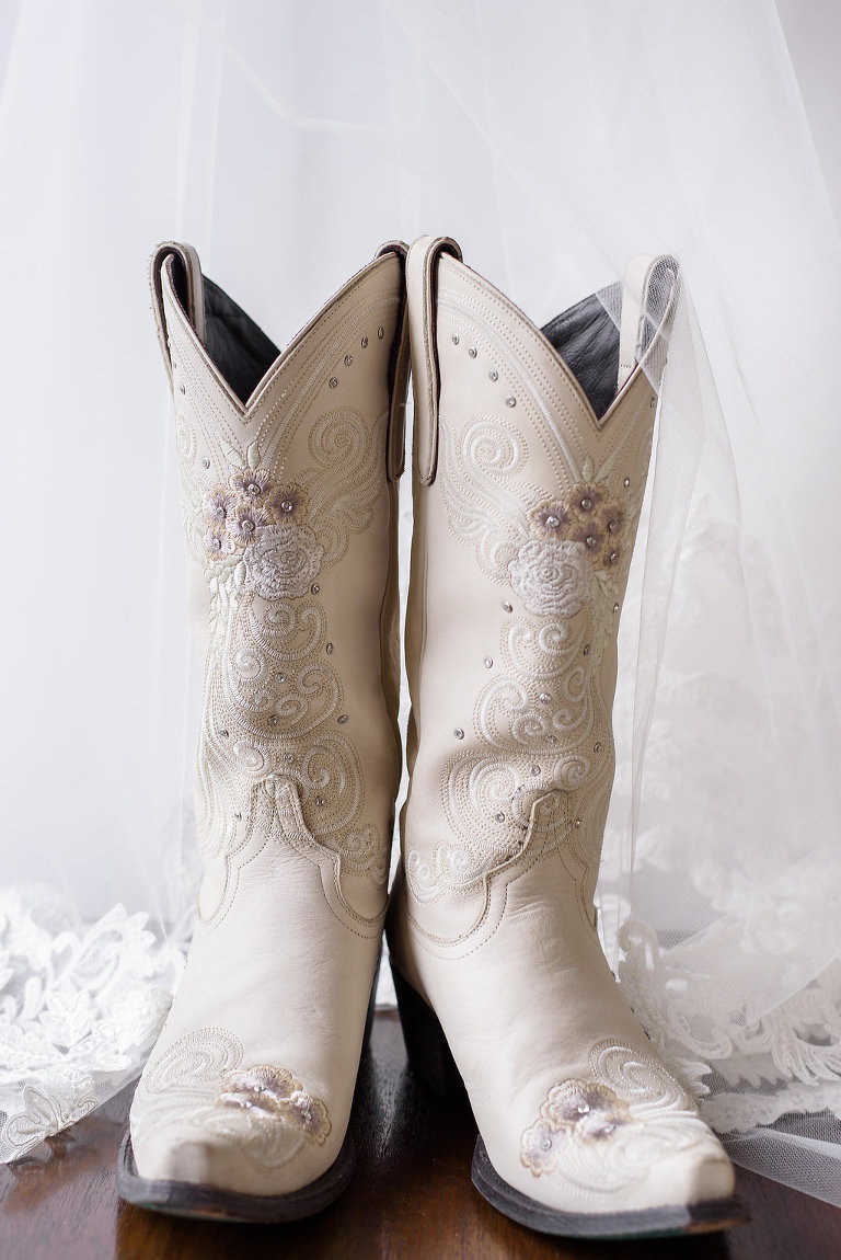 White with Dusty Rose Embroidery Cowboy Boots Wedding Shoes