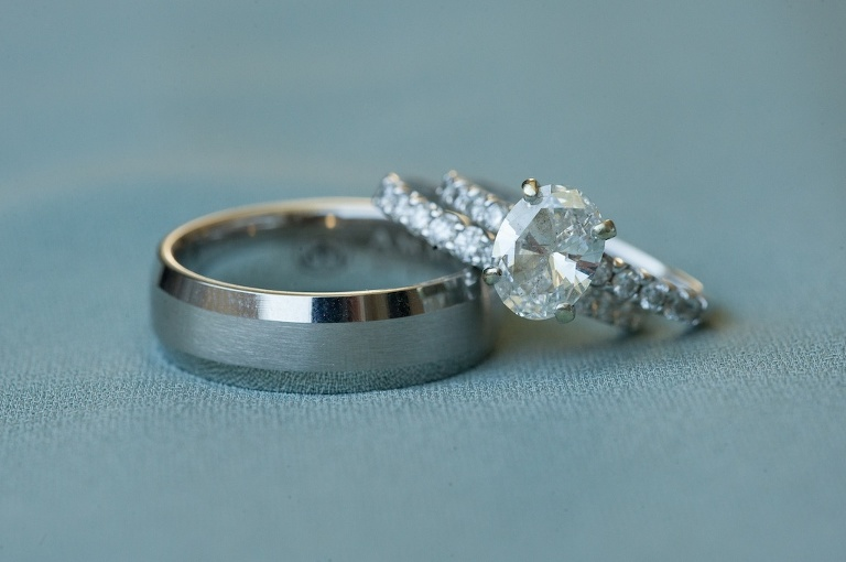 Oval Diamond Engagement Ring and Wedding Band and Silver Men's Ring