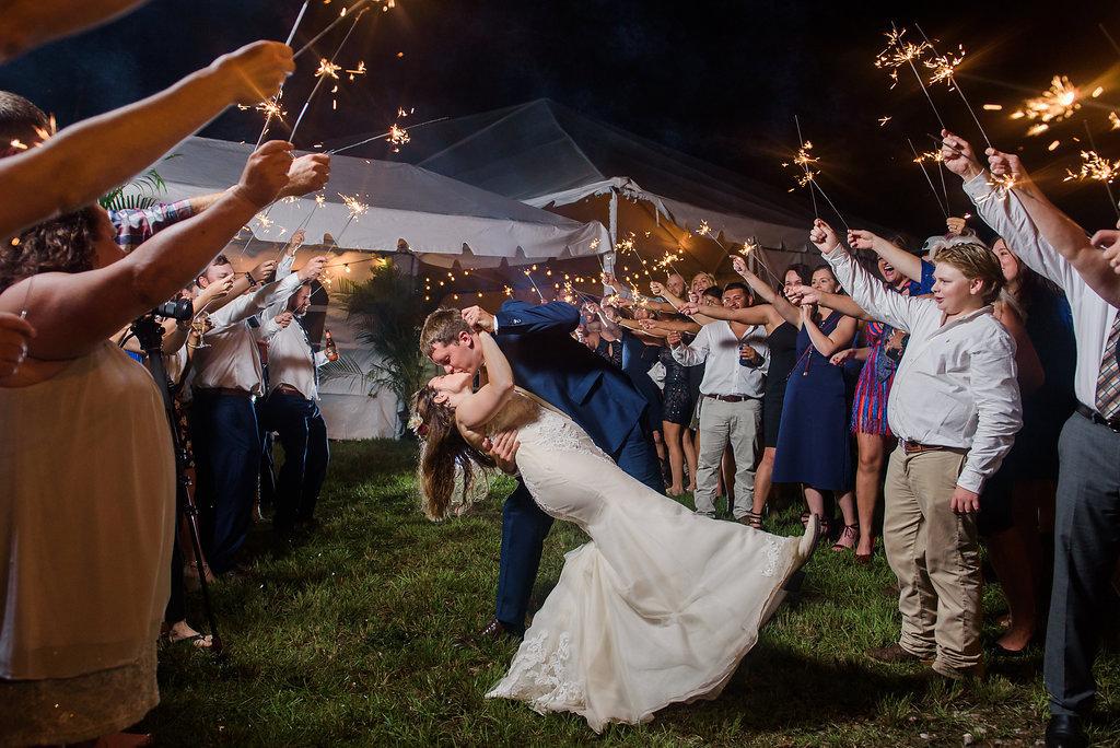 Outdoor Sparkler Wedding Exit Portrait, Bride in Trumpet Ines Di Santo Dress Groom in Navy Blue Suit