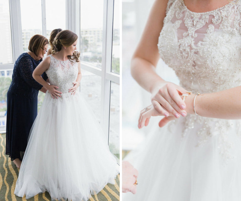 Bridal Getting Ready Portrait in Illusion Lace Princess Ballgown Wedding Dress