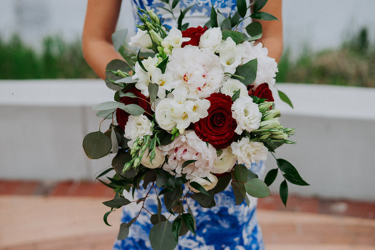 Red Rose, White Floral and Greenery Bridal Bouquet, Bride in Blue and White Dress | Tampa Bay Wedding Florist Apple Blossoms Floral Designs | St Pete Photographer Grind and Press Photography