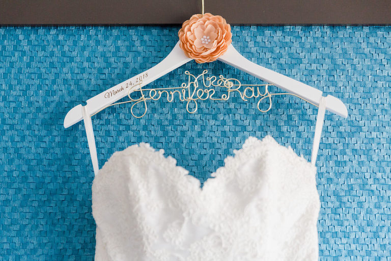 Custom Personalized Mrs Wedding Dress Hanger with Floral Detail