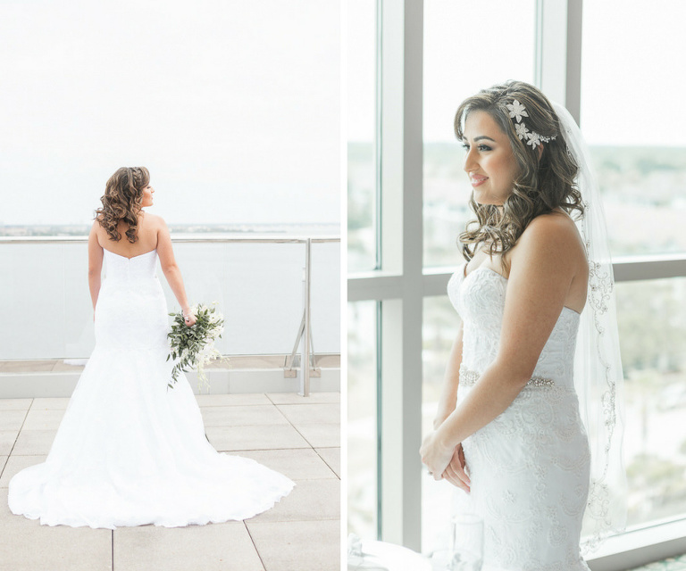 Outdoor Waterfront Wedding Portrait, Bride in Strapless Belted Mermaid David's Bridal Dress, with White Floral Hair Accessory and White and Greenery Bouquet | Hotel Reception Venue The Westin Tampa Bay