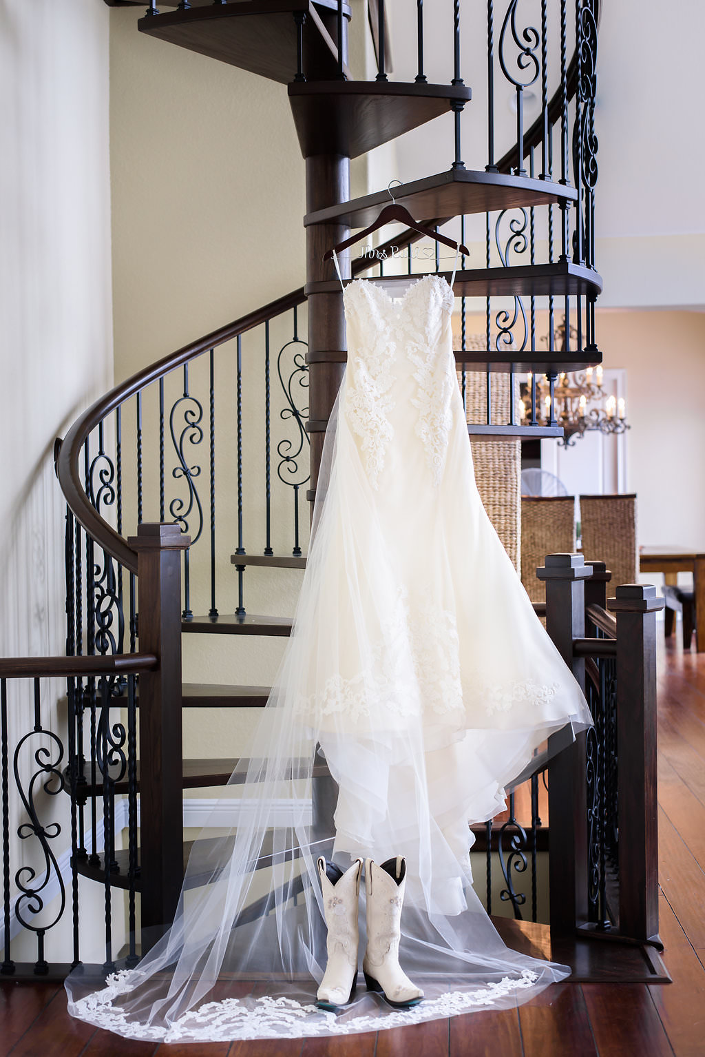 Strapless Sweetheart A Line Ines Di Santo Wedding Dress on Custom Hanger with White with Dusty Rose Embroidery Cowboy Boots Wedding Shoes
