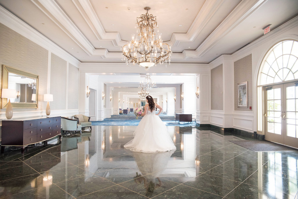 Ritz Carlton Sarasota Hotel Interior Bridal Portrait in Ballgown Hayley Paige Wedding Dress | Sarasota Wedding Photographer Kristen Marie Photography