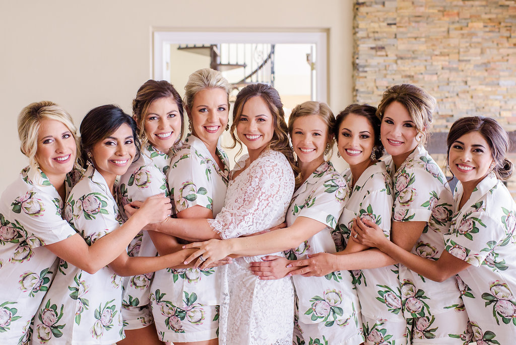 Indoor Bridal Party Getting Ready Portrait in Matching Blush pInk and Greenery Floral Pajamas