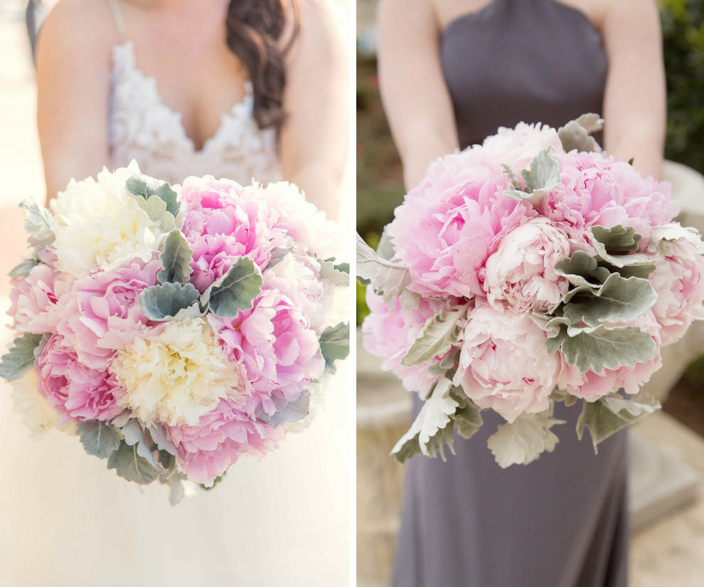 Outdoor Bride and Bridesmaid Portrait with Pink and White Peony with Greenery Bouquet, Bridesmaid in Gray Halter Column Dress | Sarasota Wedding Photographer Kristen Marie Photography