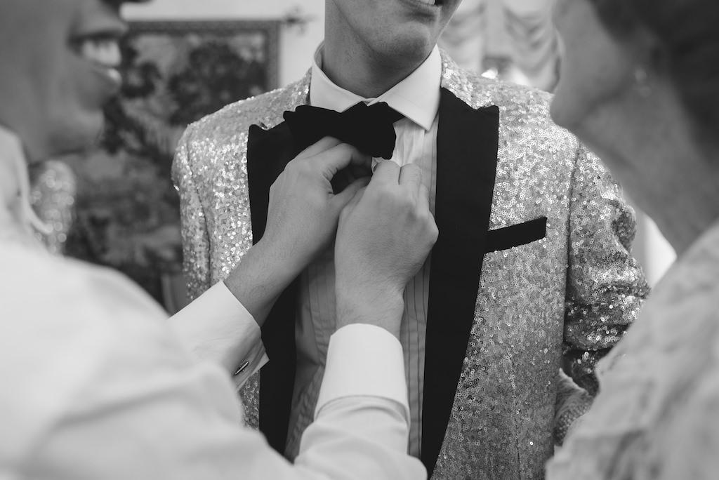 Same Sex Gay Wedding Groom Getting Ready Portrait in Sequin Tuxedo
