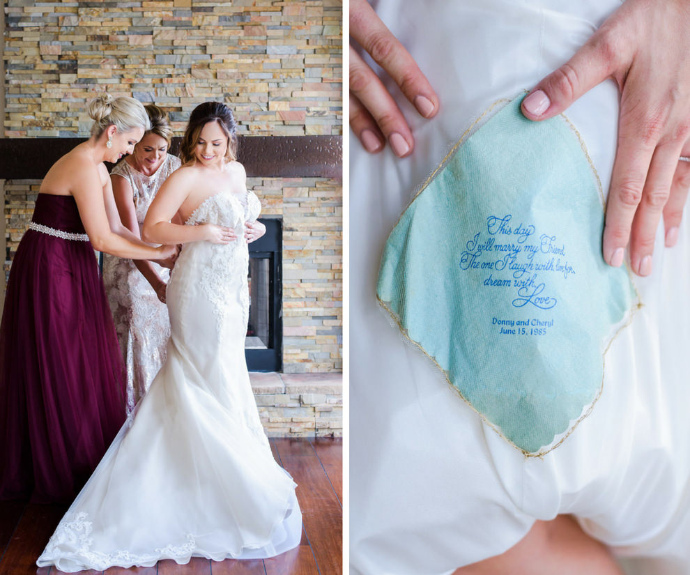 Bride Getting Ready Portrait in Strapless Ines Di Santo A Line Wedding Dress, Bridesmaid in Jewel Toned Magenta Belted Strapless Jenny Yoo Dress, with Something Blue Poem on Handkerchief