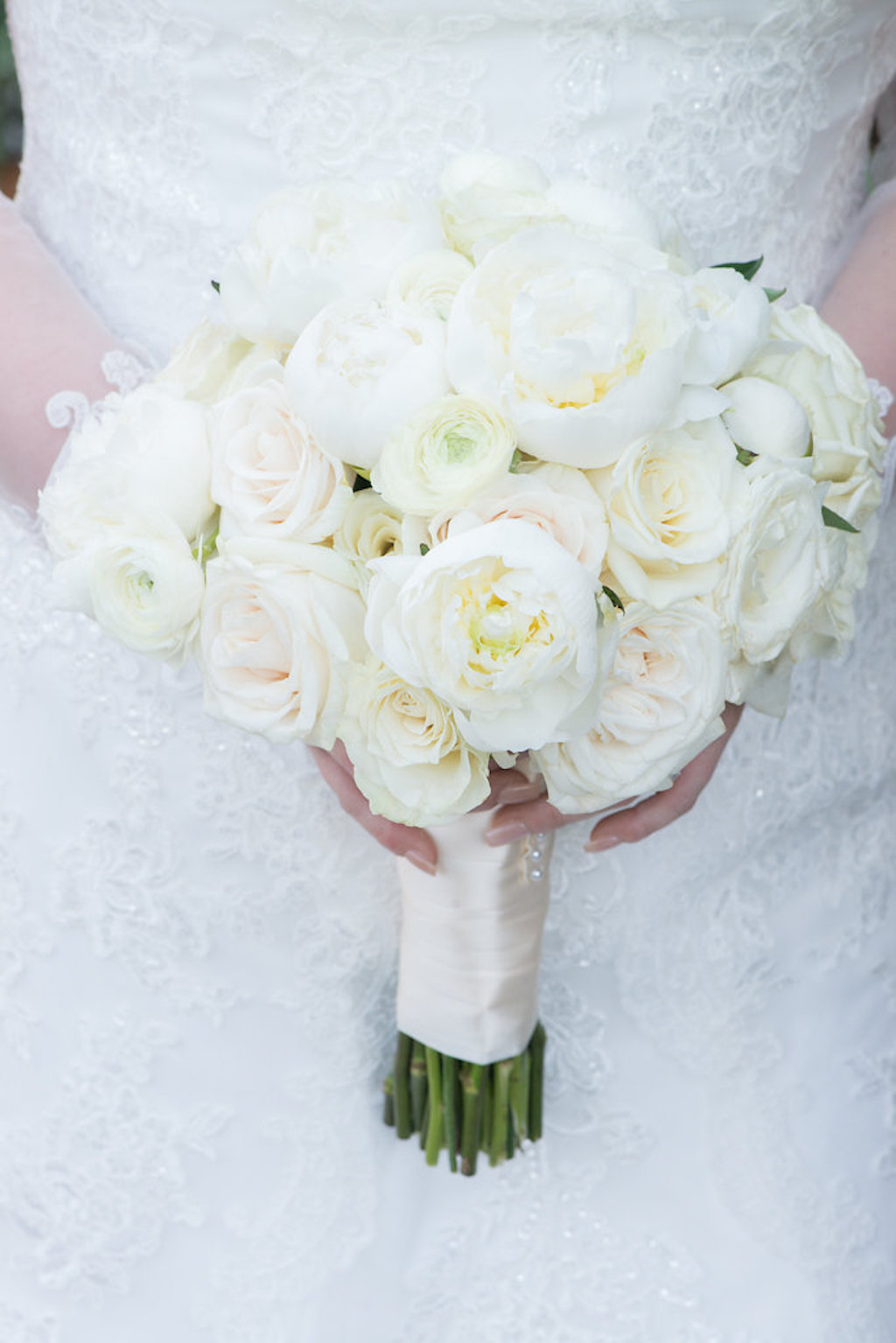 Elegant Wedding Bridal Bouquet Portrait with White Roses and Wide Ribbon Wrap