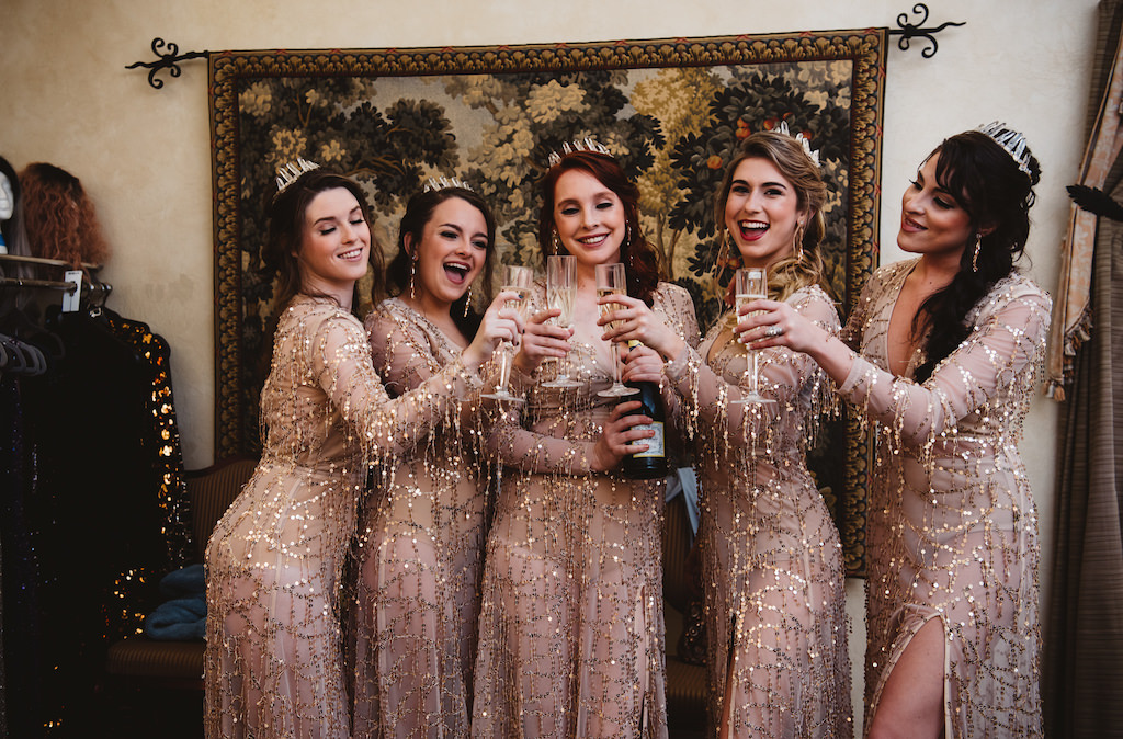 1920s Vintage Glam Gatsby Inspired Wedding Party Portrait in Pretty Little Thing Sheer Sequin Long Sleeve Dresses with Champagne and Silver Tiaras   Sarasota Wedding Hair and Makeup LDM Beauty Group