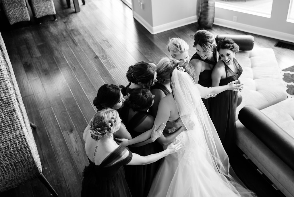 Bridal Party Indoor Black and White Getting Ready Portrait in Mismatched Long Jenny Yoo Dresses