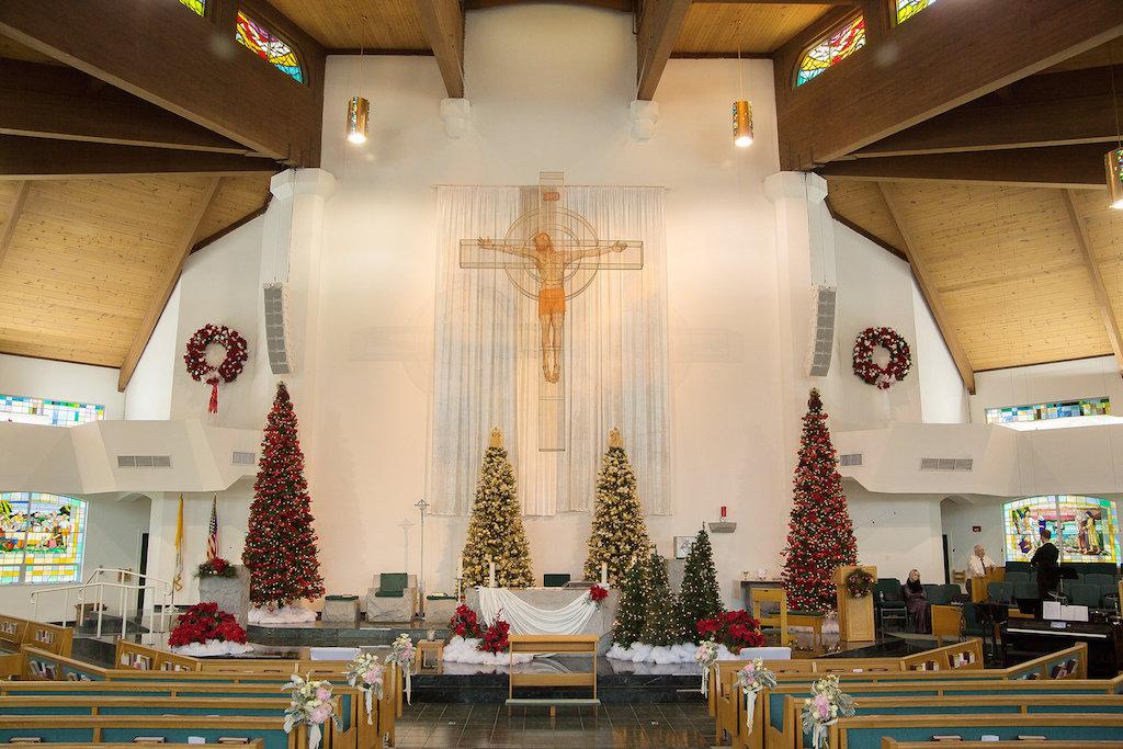 Church Wedding Ceremony with Pink Peony and Greenery With White Ribbon Florals, Christmas Decor | Sarasota Wedding Venue Saint Patrick's Catholic Church