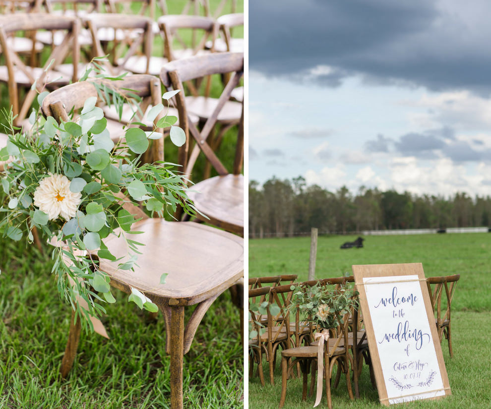 OUtdoor Farm Wedding Ceremony with Wooden Crossback Chairs, White Protea and Greenery Florals, and Wooden and White with Stylish Navy Blue Printed Welcome Sign   Tampa Bay Wedding Planner NK Productions