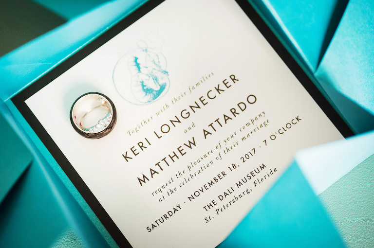 Modern Turquoise Blue Rectangle Wedding Invitation Suite with Bride and Grooms Wedding Bands