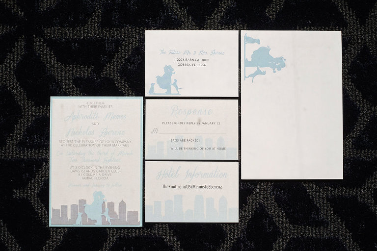 Custom Wedding Invitations and Stationery Designed in Blue and Grey with Cityscape and Dogs