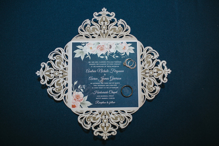 Navy Blue, Silver and Floral Design Custom Wedding Invitation and Wedding Rings