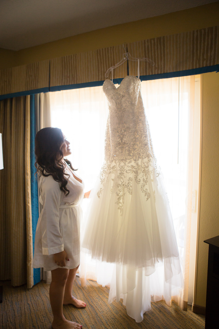 Bride Getting Ready Portrait with Illusion Lace and Tulle Sweetheart Beaded Mermaid Wedding Dress | Tampa Bay Wedding Hair and Makeup Artist Femme Akoi