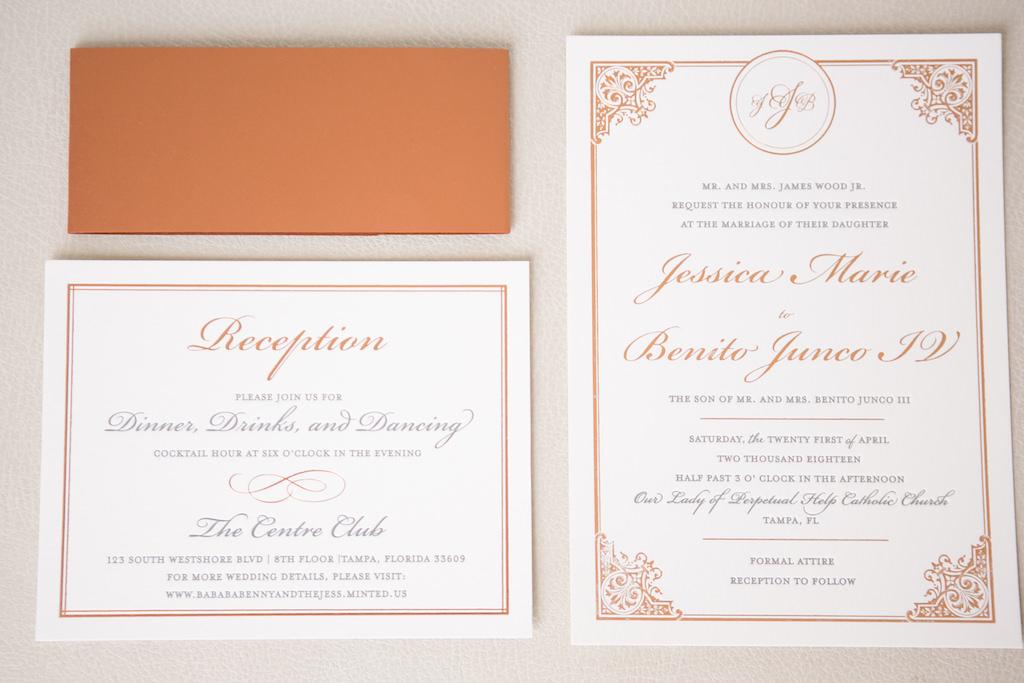 Elegant Brown, Mauve Copper and White Wedding Invitation Suite