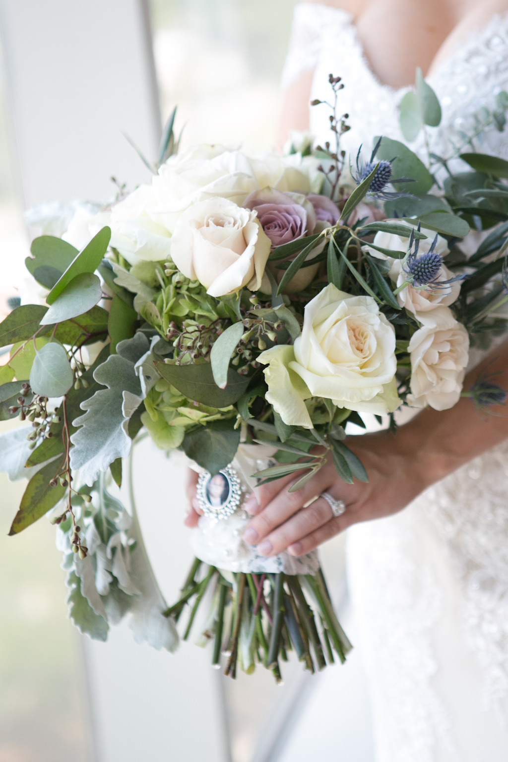 Bridal Portrait with White and Blush Roses, Thistle, and Greenery with Photo Memory Charm   Tampa Wedding Photographer Carrie Wildes Photography