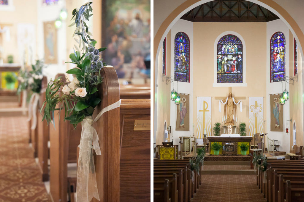 Traditional Church Wedding Ceremony with Thistle, Blush Rose and Greenery Floral Arrangements with White Ribbon   Tampa Wedding Venue Our Lady of Perpetual Help Catholic Church