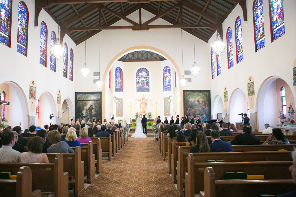 Traditional Church Wedding Ceremony Portrait   South Tampa Venue Our Lady of Perpetual Help Catholic Church   Photographer Carrie Wildes Photography