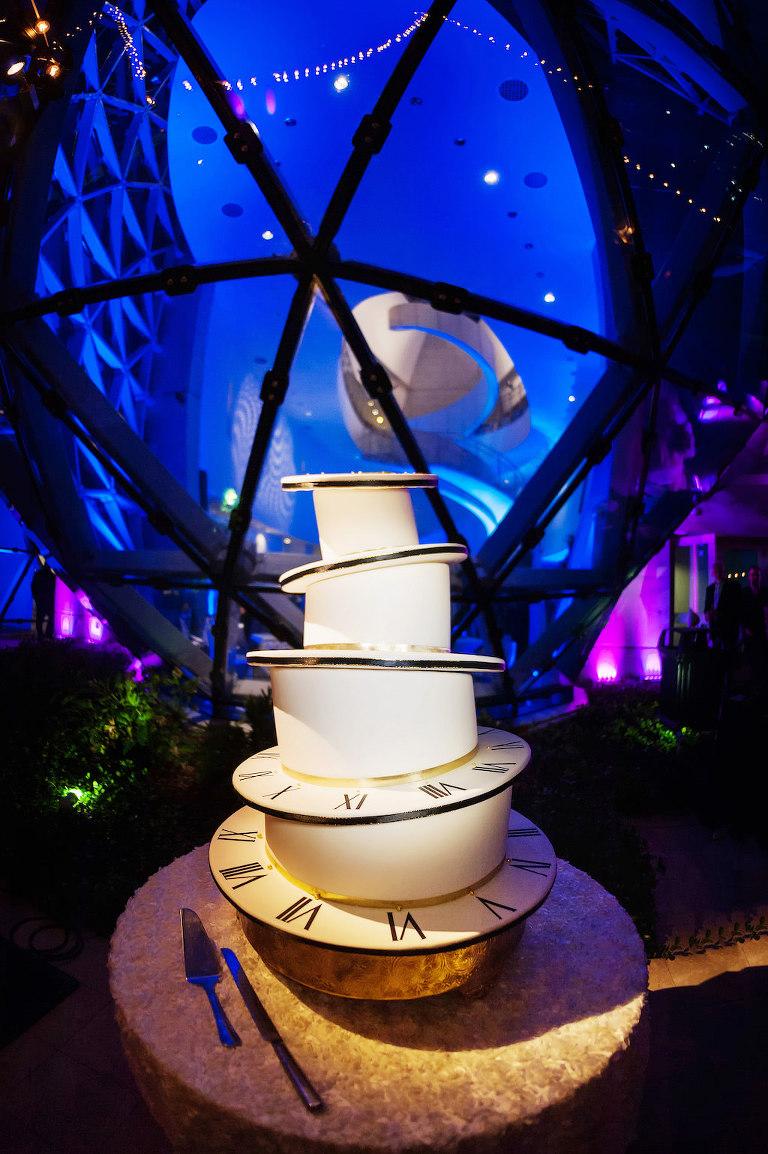 Alice in Wonderland Whimsical Clock 4-Tier White Wedding Cake   Downtown St. Pete Wedding Baker The Artistic Whisk