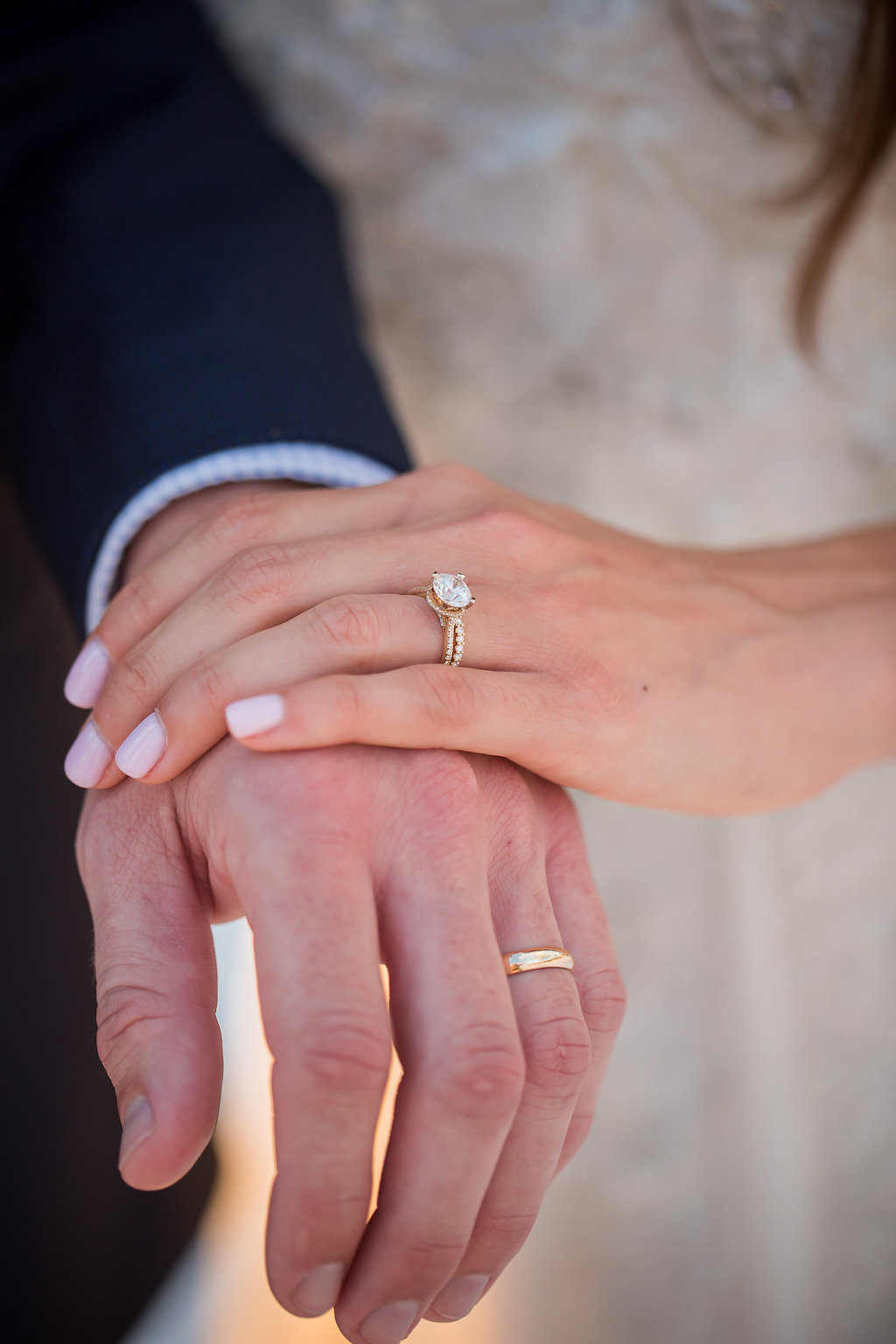 Bride and Groom Showing Gold Wedding Rings