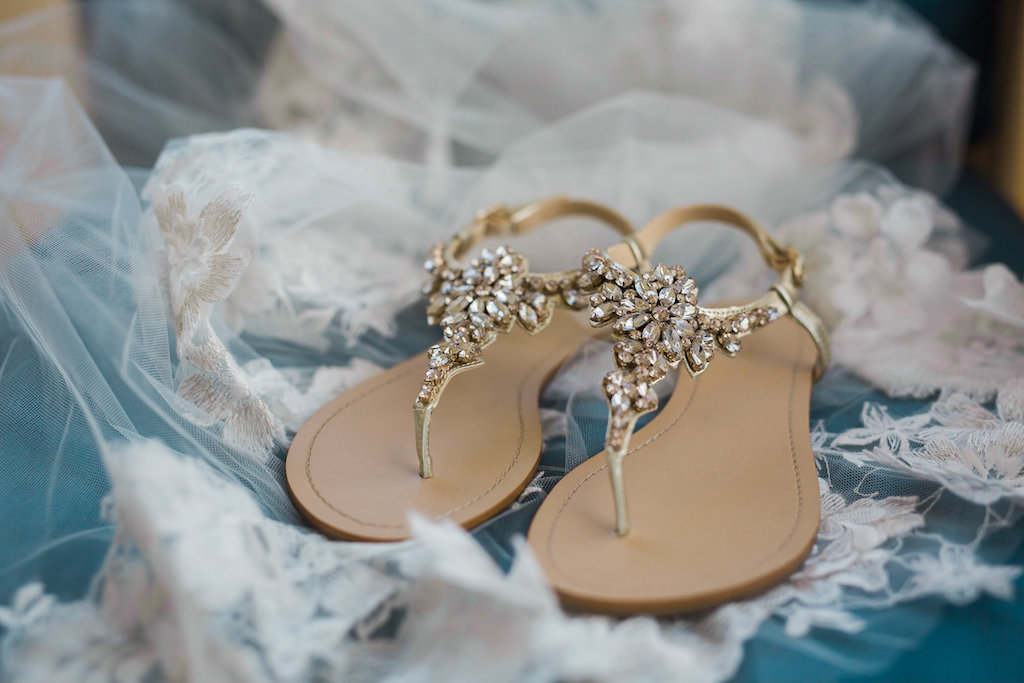 Bride's Gold Rhinestone Beaded Sandals on Top Lace Veil