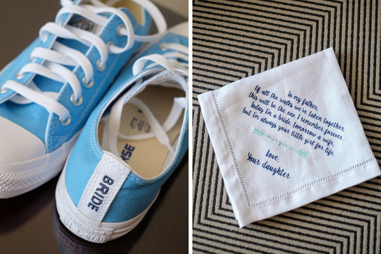 Bridal Wedding Monogrammed Handkerchief with Light Blue Personalized Converse Sneakers